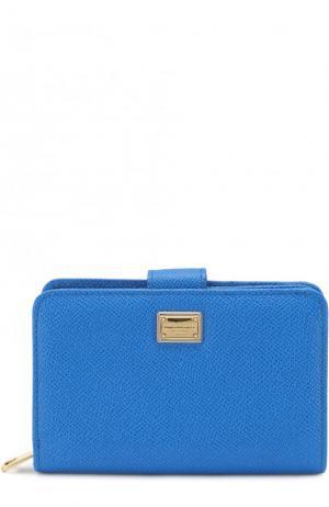Кожаное портмоне с тиснением Dauphine Dolce & Gabbana. Цвет: синий