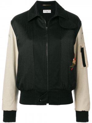 Куртка-бомбер с вышивкой Saint Laurent. Цвет: черный