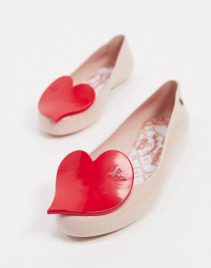 Розовые балетки с сердцами -Бежевый Vivienne Westwood for Melissa