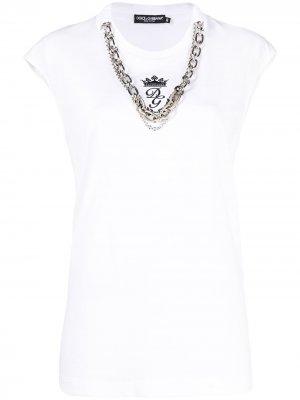 Топ с вышитым логотипом Dolce & Gabbana. Цвет: белый