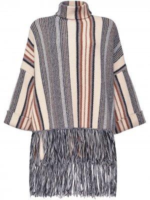 Полосатый пуловер с высоким воротником Pinko. Цвет: серый