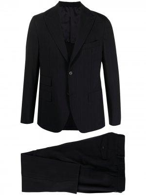 Полосатый костюм-двойка с однобортным пиджаком Eleventy. Цвет: синий