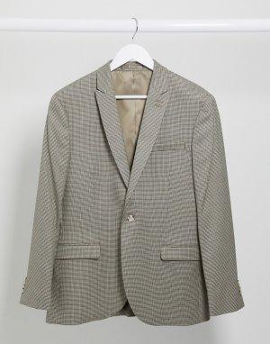 Бежевый однобортный пиджак узкого кроя -Коричневый цвет Topman