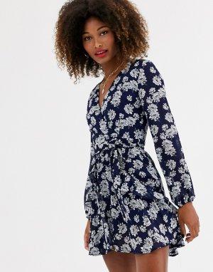 Платье мини с длинными рукавами и цветочным принтом -Темно-синий Zibi London