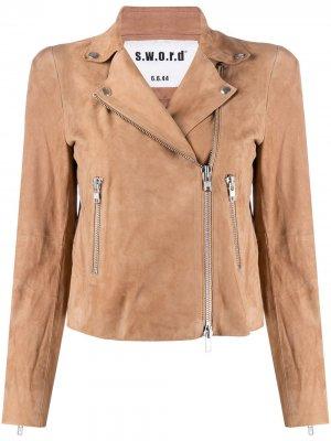 Байкерская куртка на молнии S.W.O.R.D 6.6.44. Цвет: нейтральные цвета