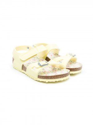 Floral-footbed double-strap sandals Birkenstock Kids. Цвет: желтый