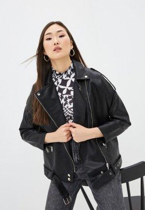 Куртка кожаная Aaquamarina. Цвет: черный