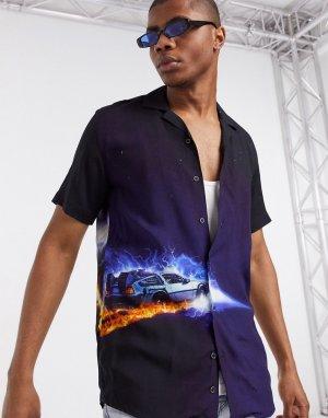 Черная рубашка с принтом из фильма Назад в будущее -Черный Criminal Damage