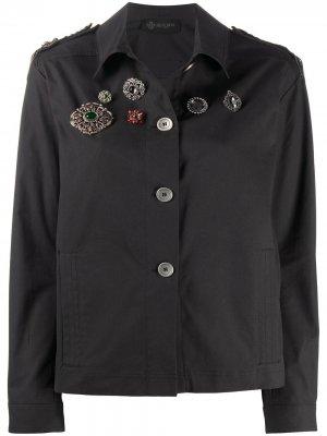 Куртка с декором в виде брошей и нашивкой-логотипом Mr & Mrs Italy. Цвет: черный