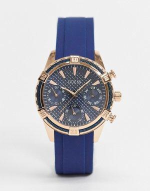 Часы с хронографом и синим ремешком -Голубой Guess