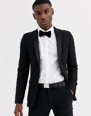 Черный супероблегающий пиджак-смокинг -Черный цвет ASOS DESIGN