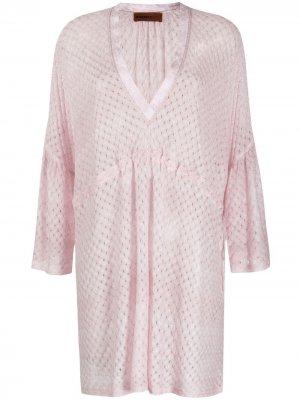 Пляжное платье тонкой вязки Missoni Mare. Цвет: розовый