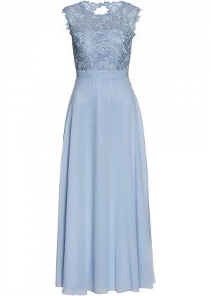 Вечернее платье макси Premium с кружевом bonprix. Цвет: лиловый