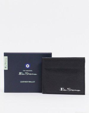Кожаный кошелек с RFID-чипом -Черный цвет Ben Sherman