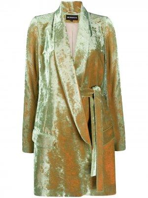 Бархатное пальто миди Ann Demeulemeester. Цвет: зеленый