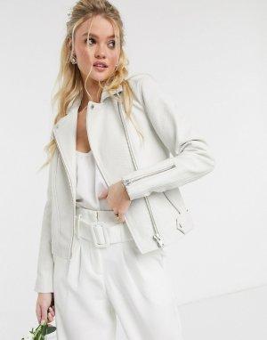 Кремовая кожаная куртка с крокодиловым рисунком -Белый Y.A.S
