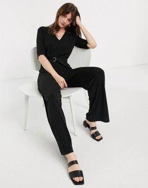 Черный трикотажный комбинезон с широкими штанинами -Черный цвет In Wear