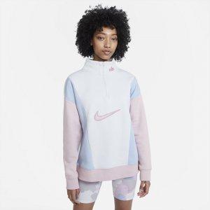 Женский флисовый свитшот с молнией 1/4 Sportswear - Серый Nike