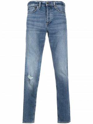 Узкие джинсы с эффектом потертости Rag & Bone. Цвет: синий