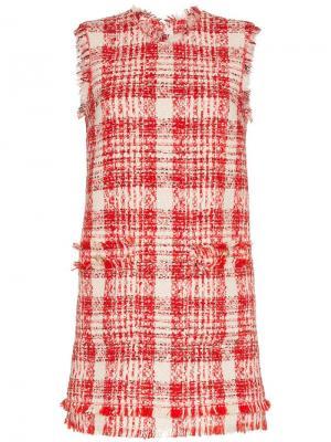 Твидовое платье мини в клетку MSGM. Цвет: красный