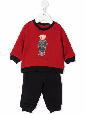 Спортивный костюм с принтом Polo Bear Ralph Lauren Kids. Цвет: красный