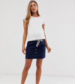 Саржевая мини-юбка на пуговицах Mamalicious maternity-Синий Mama.licious