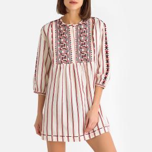 Платье-футляр с вышивкой ROSA BA&SH. Цвет: хаки,экрю