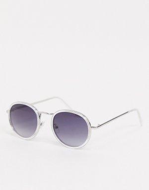 Круглые солнцезащитные очки в прозрачной оправе с затемненными стеклами -Очистить AJ Morgan