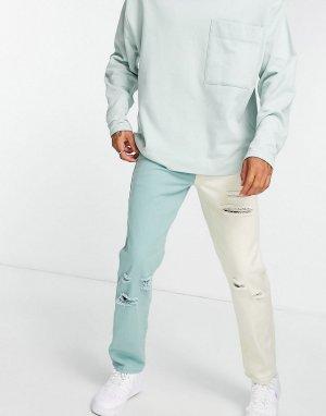 Зеленые и кремовые джинсы прямого кроя со рваной отделкой с нахлестом от комплекта -Разноцветный Liquor N Poker