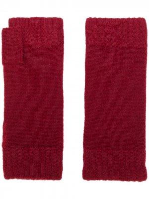 Трикотажные перчатки-митенки N.Peal. Цвет: красный