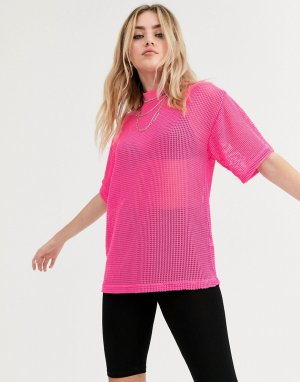 Oversize-футболка из сетки -Розовый ASOS DESIGN