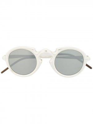Солнцезащитные очки RG0077 в круглой оправе Rigards. Цвет: серебристый