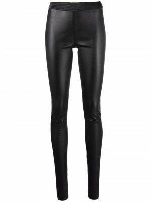 Ribbed-waistband leather leggings Drome. Цвет: черный