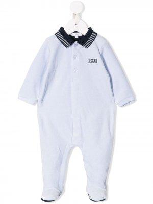 Пижама с вышитым логотипом BOSS Kidswear. Цвет: синий