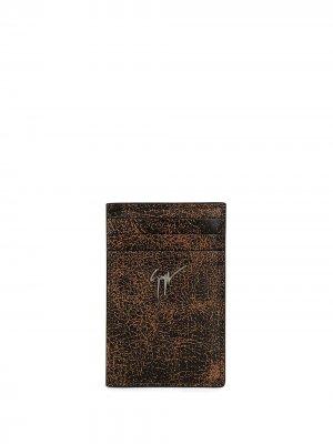 Картхолдер Albert с эффектом кракле Giuseppe Zanotti. Цвет: коричневый