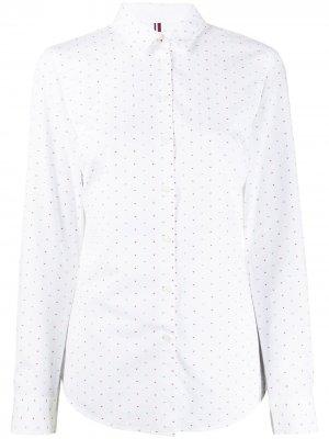 Жаккардовая рубашка в мелкую точку Tommy Hilfiger. Цвет: белый