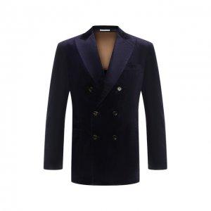 Хлопковый пиджак Brunello Cucinelli. Цвет: синий
