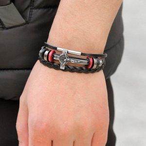 Мужской плетеный браслет SHEIN. Цвет: чёрный