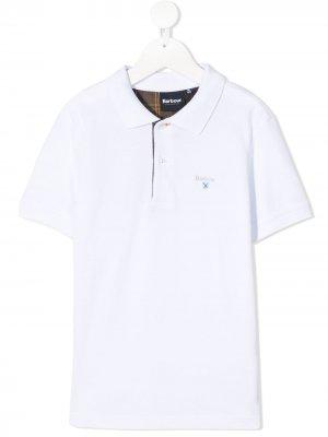 Рубашка поло с вышитым логотипом Barbour Kids. Цвет: белый