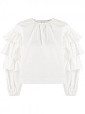 Блузка с длинными рукавами и оборками Ulla Johnson. Цвет: белый