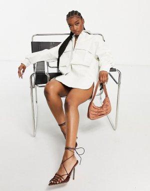 Белая платье-рубашка с большими карманами из искусственного материала эффектом крокодиловой кожи -Белый I Saw It First