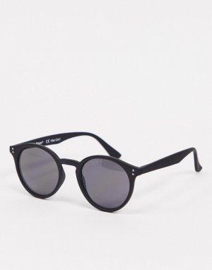Черные солнцезащитные очки в круглой оправе -Черный AJ Morgan