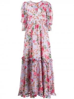 Платье макси с цветочным принтом и V-образным вырезом byTiMo. Цвет: синий