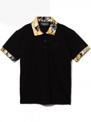 Baroccoflage-trim polo shirt Versace Kids. Цвет: черный