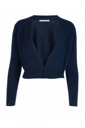 Темно-синий пуловер с глубоким вырезом Fabiana Filippi. Цвет: синий