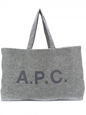 Объемная сумка-тоут A.P.C.. Цвет: серый