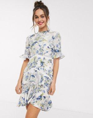 Платье мини с открытой спиной и цветочным принтом -Мульти Hope & Ivy