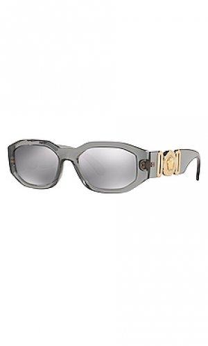 Солнцезащитные очки tribute oval VERSACE. Цвет: серый