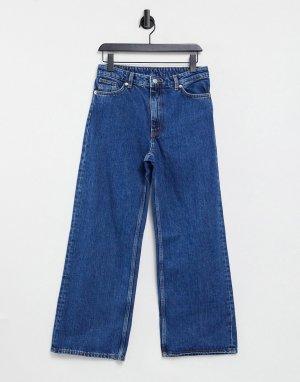 Синие укороченные джинсы из органического хлопка с широкими штанинами Yoko-Голубой Monki