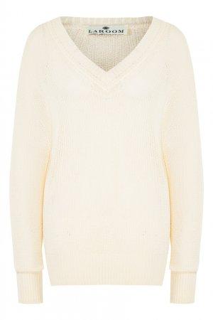 Бежевый пуловер из хлопкового микса LAROOM. Цвет: бежевый